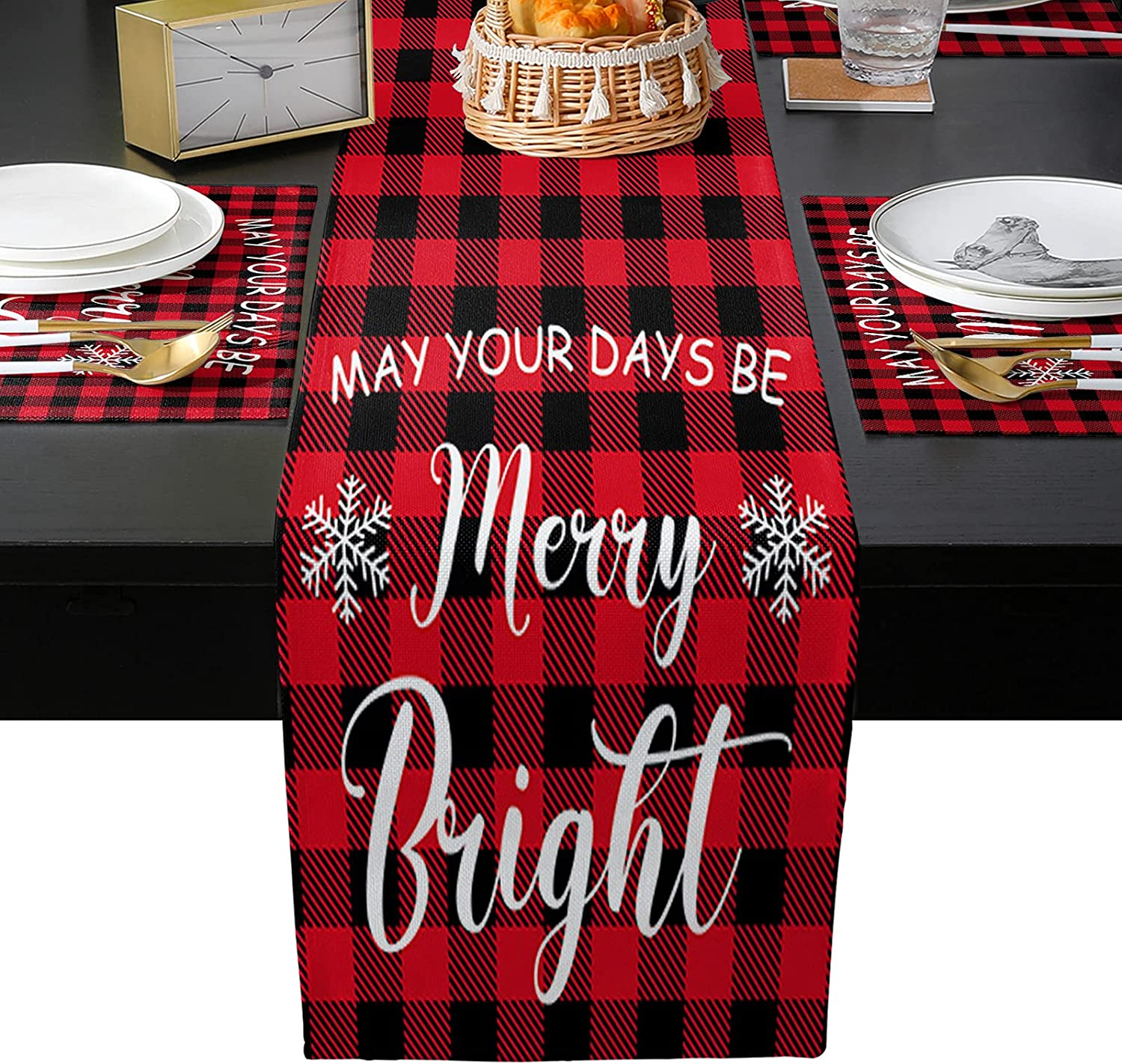 Table Runner with Placemats Set Special price for a limited time of P San Diego Mall Merry Red 6 Black Christmas