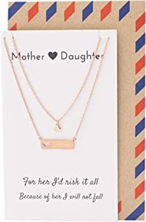 Quan Jewelry Horizontal Bar Necklace for Women with Cutout Heart Pendant, Mother Daughter Set with Inspirational Quote on ...
