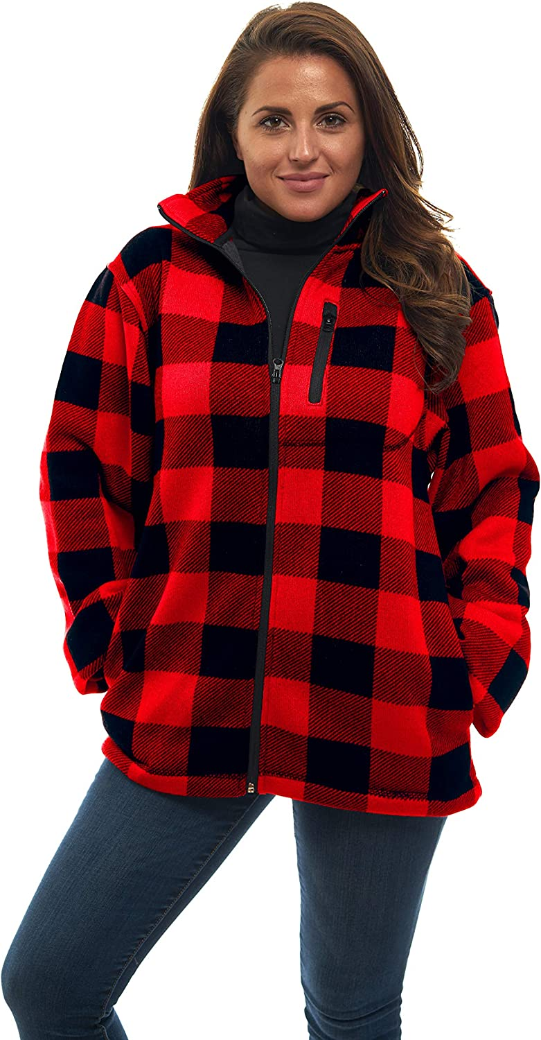 TrailCrest Women's Zip Up Warm Knit Unique Sweater Fleece Jacket  Red Plaid  All Season Collection