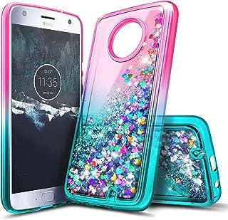 Moto X4 Case, NageBee Glitter Liquid Waterfall Floating Sparkle Bling Diamond Shockproof Women Kids Girls Cute Durable Luxury Clear Case for Motorola Moto X4 / Android One Moto X4 -Pink/Aqua