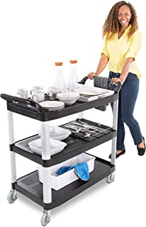 Tubstr Large Service Cart with Three Shelves - Dual Handles & Rolling Casters – Supports up to 300 lbs. - Utility Cart for Restaurant, Warehouse, Healthcare, Schools and More (Black / 40.5 x 19.75)