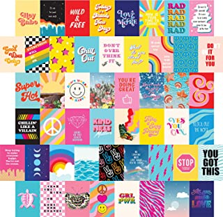 Artivo Bright Retro Wall Collage Kit Aesthetic Pictures 50 Set 4x6, Colorful Indie Wall Decor for Teen Girls, VSCO College...