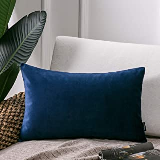 Phantoscope Soft Cozy Velvet Throw Pillow Solid Square Cushion Cover Navy Blue 12 x 20 inches 30 x 50 cm