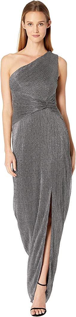 Chainmail Knit One Shoulder Evening Gown