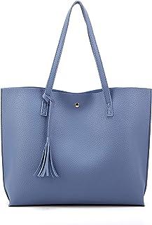 حقيبة يد ساتشيل كبيرة من جلد البولي يوريثان المحبب مزينة بشراب للنساء من نوديكا, , ازرق - NDK1012Blue