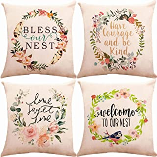 ZUEXT Sweet Spring Floral Throw Pillow Covers 18 x 18 Inch Double Side Design with Blessed Words, Set of 4 Square Cotton Linen Cushion Pillowcase for Car Sofa Bed Couch, Thanksgiving Wedding Gifts