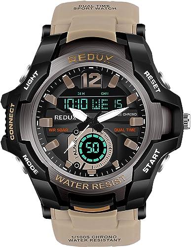 1805 Khaki Dual Time Analog Digital LED Display Waterproof Watch for Men s