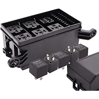 Amazon.com: 12-Slot Fuse Relay Box,6 Relays Box, 6 ATC/ATO Fuses Holder  Block with Fuses Relays and 41pcs Metallic Pins for Automotive and Jeep  Boat Car Marine Engine Bay: AutomotiveAmazon.com