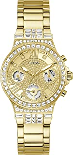 GUESS Women's Quartz Watch with Stainless Steel Strap, Gold, 18 (Model: GW0320L2)