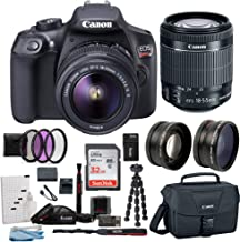 Canon EOS Rebel T6 Camera Accessory Kit with Lens and Carry Bag, 58mm - 3 Piece Filter Kit, 2 Piece Wide Lens Set, Replacement 1600mAh Battery and Charger, 32GB SD Card, 12