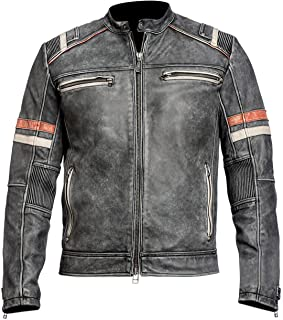 Mens Distressed Black Retro Vintage Cafe Racer Motorcycle Leather Jacket Real/Faux Leather