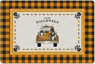 Meet 1998 Leather Doormat Gnome Halloween Pumpkin Non-Slip Rubber Floor Mats Orange Black Plaid Durable Outdoor Entrance R...