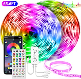 65.6FT LED Strip Lights, UALAU APP Control Music Sync LED Light Strip Kits with Remote and Control Box, 5050 SMD 600 LEDs Color Changing RGB LED Lights for Bedroom, Room, Kitchen, Ceiling and TV