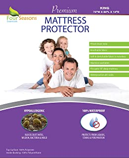 Four Seasons Essentials King Size Waterproof Mattress Protector - Fitted Sheet Style - Hypoallergenic Premium Quality Cover Protects Against Dust Mites, Allergens