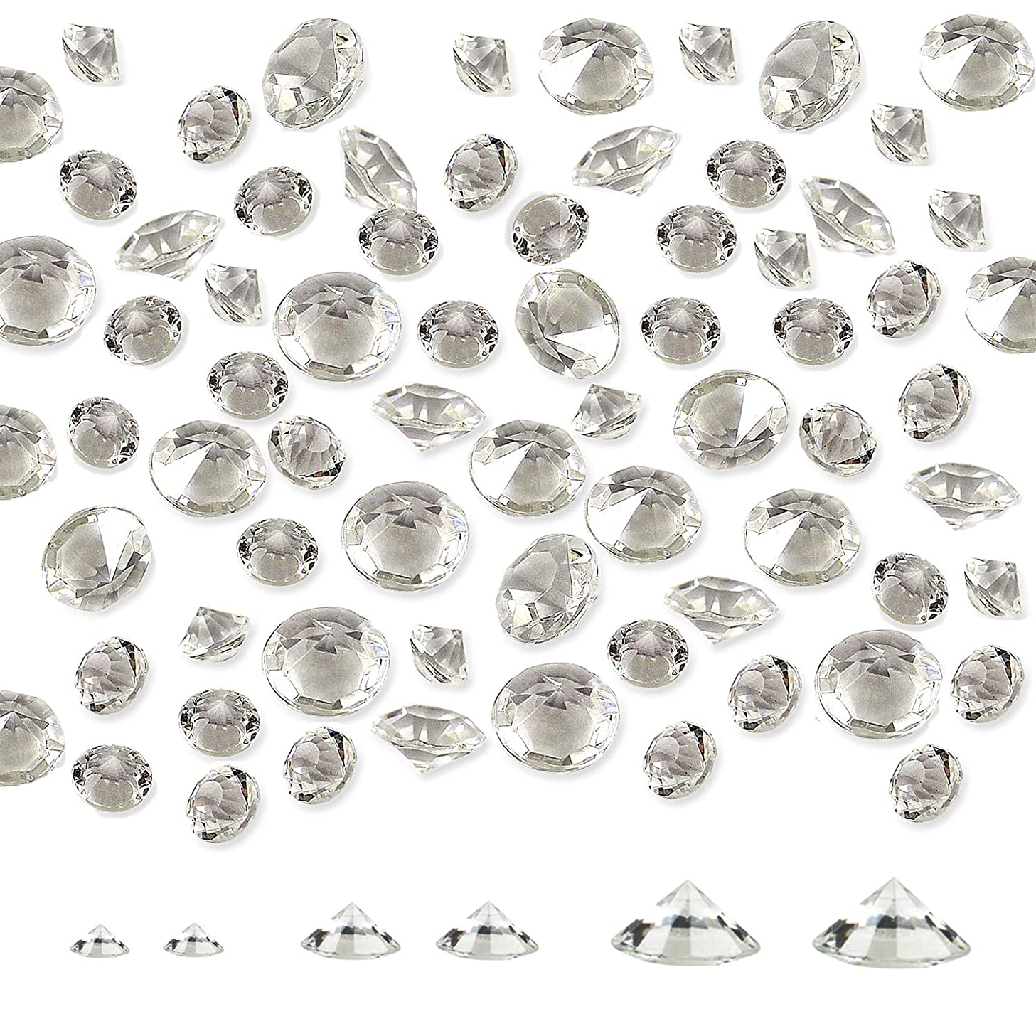 Meching Clear Acrylic Diamonds Crystals (650 PCS) Round Diamond Crystals Treasure Gems for Table Scatters, Vase Fillers, Event, Wedding, Birthday Decoration Favor, Arts & Crafts 10/14/20mm(Multi)