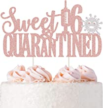 Sweet 16th Quarantined Cake Topper, Rose Gold Glitter Happy 16th Birthday Cake Topper, Sweet Sixteen/Happy Sweet 16/Happy Quarantine Birthday Party Cake Supplies Decoration
