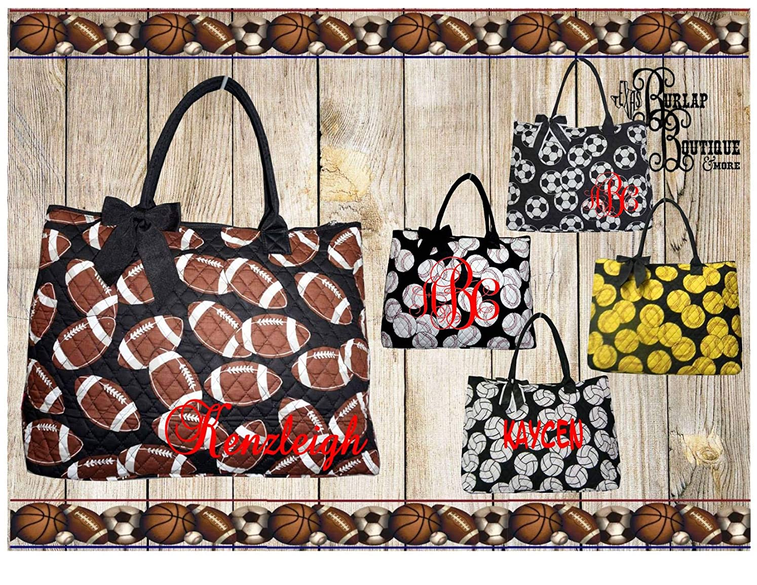 FREE Personalization ~ Monogrammed Sports ~ Quilted Large Tote Bag, Overnight Bag, Carry on Bag ~ Baseball ~ Soccer ~ Football ~ Volleyball nsxfdaoqa8106673
