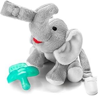Bryco Baby Elephant Pacifier Holder - Includes Detachable Pacifier, Tail Clip, and Rattle - Soft Plush Stuffed Animal Toys for Infants - BPA-Free Silicone Pacifier is Easy to Clean and Dishwasher Safe