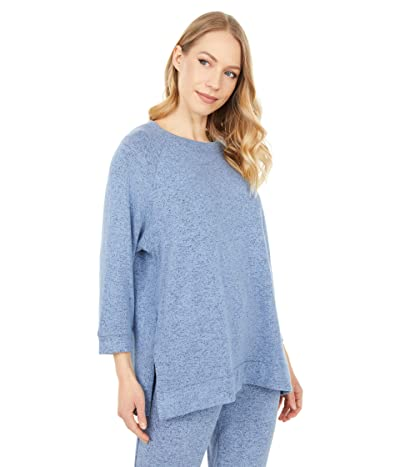 Donna Karan Brushed Sweater Sleepwear Jersey Top (Denim Blue) Women