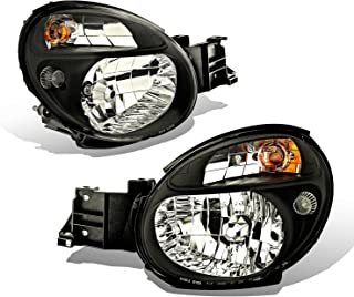 SPPC Crystal Headlights Black Assembly Set For Subaru Impreza - (Pair) Driver Left and Passenger Right Side Replacement Headlamp