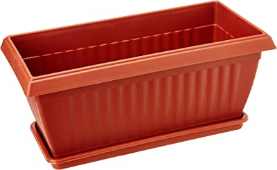 Easy Gardening Royal 3 Rectangle Planters and Trays - Plastic Pots (Pack of Three)