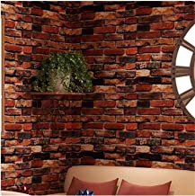 "Yancorp 18"" x 120"" Self-Adhesive Brick Wallpaper Rust Red Brown Paper Fireplace Backdrop Peel and Stick Wall Decor Stick o..."
