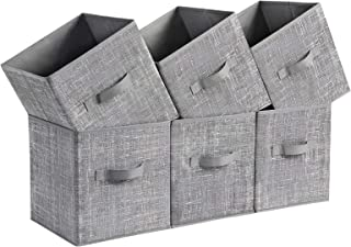 SONGMICS Storage Boxes, Set of 6, Non-Woven Fabric Foldable Storage Cubes, Toy Clothes Organizer Bins, Heathered Gray UROB26LG