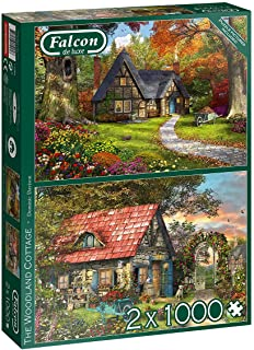 Jumbo, Falcon de luxe - Woodland Cottages, Jigsaw Puzzles for Adults, 2 x 1,000 piece