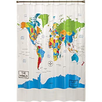 target world map shower curtain Amazon Com Skl Home By Saturday Knight Ltd The World Shower