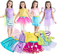 Toiijoy Girls Dress up Costume Set Princess, Little Mermaid, Fairy Costume Tutu Set with Accessories Jewelry for Little Girls Age 3-7 Years