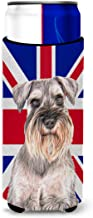 Schnauzer with English Union Jack British Flag Ultra Beverage Insulators for Slim cans KJ1165MUK