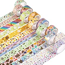YUBX Washi Tape, 12 Rolls Masking Tape Decorative Gold Foil Print for Arts and Crafts, Scrapbooking, Bullet, Journal, Plan...