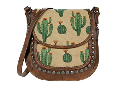 M&F Western Desert Messenger Crossbody (Brown/Cream/Cactus) Handbags