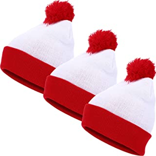 SATINIOR 3 Pieces Halloween Knit Hat Beanie Hat Pom Pom Knit Hat Red White Knitted Hat