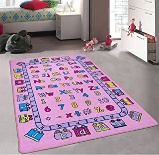 CR's Kids/Baby Room/Daycare/Classroom/Playroom Girl's Area Rug. Alphabet. Train. Letters. Numbers. Educational. Fun Pink. Purple. Nonslip Gel Back. Bright Colorful Colors (5 Feet X 7 Feet)