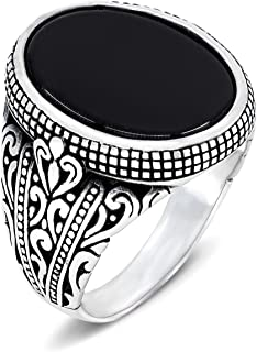 Men's Ring Turkish Handmade 925 Sterling Silver with Oval Black Onyx and Eastern Motifs