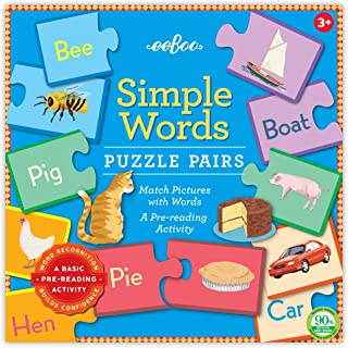 eeBoo Preschool Simple Word Puzzle Pairs for Toddlers 3 Years and Up