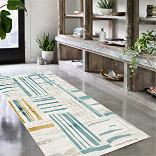 TONGQU Tapis de Couloir Au Mètre, Moderne Long Lavable antiderapant Géométriques pour Cuisine Salon Couloir Entree, Facile...