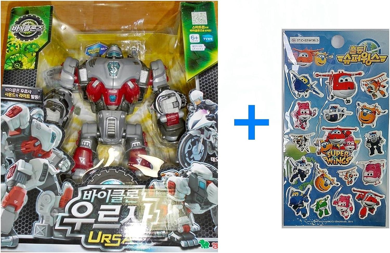 Young Toys Koreatv Animation Biklonz Ursa Transforming Coalescence Robot, Action Figure Transformer Robot + Super Wings Sticker(2 Piece)