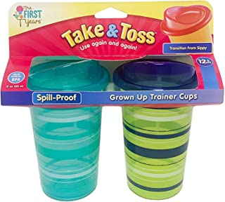 The First Years Take & Toss Spill-Proof Grown Up Trainer Cups 12 Ounce 2pk