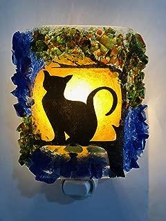 Harvest Moon Shadow Black Cat Recycled Bottle Glass Art Lighting Night Light Nightlight Unique Gift