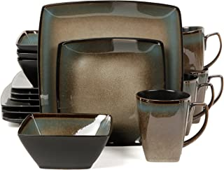 Gibson Elite Tequesta 16 Piece Square Dinnerware Set, Taupe