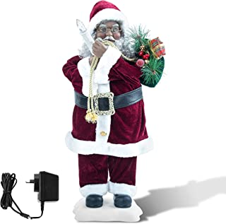 Christmas Decorations 24 Inch Tall Standing Santa Animated Moving Figurine UL Plug (African American, Red White Light Up Candle)