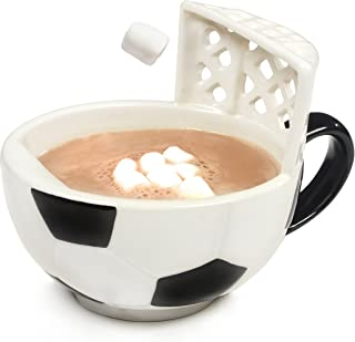 MAX'IS Creations The Soccer Mug With A Goal 14 oz oversized ceramic soccer ball cup or bowl for coffee, tea, cocoa, soup, fun gift for sports fans and futbol lovers