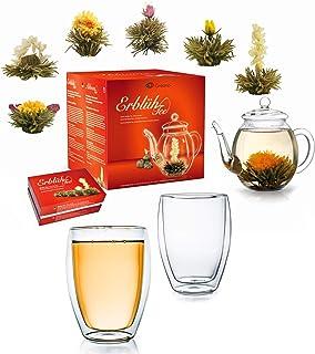 Creano Teeblumen Mix - Geschenkset Erblühtee mit Glaskanne & 2x 250ml Thermogläser - Weißer Tee in 6 Sorten