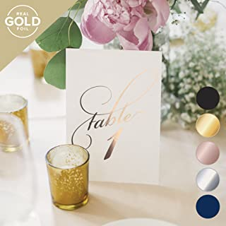 Bliss Collections Rose Gold Wedding Table Numbers, Double Sided 4x6 Calligraphy Design, Numbers 1-25 and Head Table Card Included