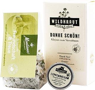 WILDKRAUT Danke schön Set | Kleines Geschenkset zum Verwöhnen | Wildkraut Lippenbalsam & Montiana Kräuter Badesalz | 100% natürlich | Handmade in Austria