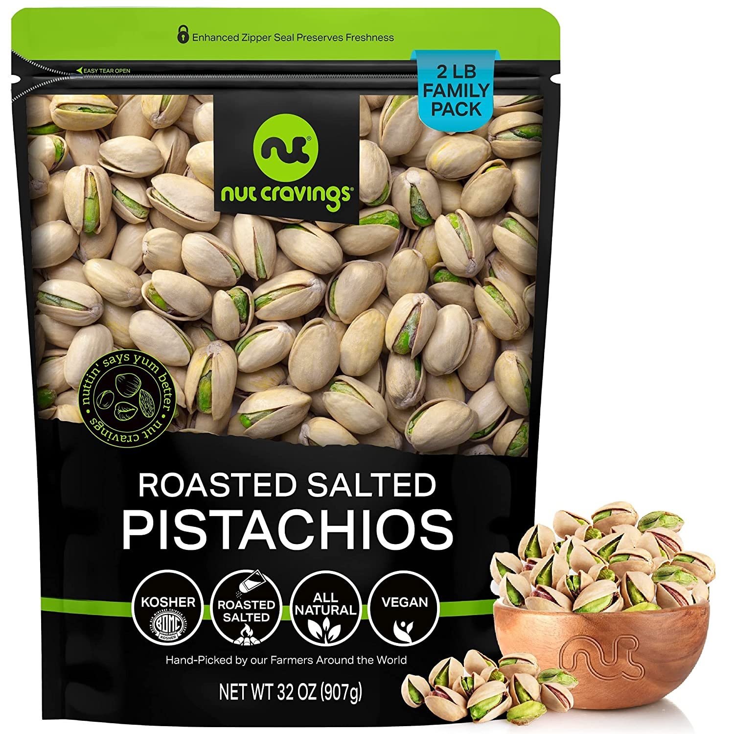 Freshly Roasted Salted California Pistachios - LB Finally resale start 2 Pac Max 80% OFF 32oz