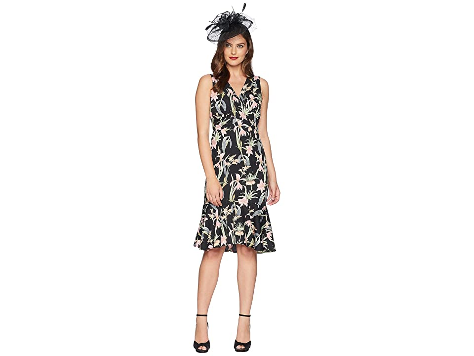 Unique Vintage Gloria Wiggle Dress (Black/Pink Floral) Women