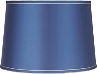 Sydnee Satin Medium Blue Drum Lamp Shade 14x16x11 (Spider) - Brentwood